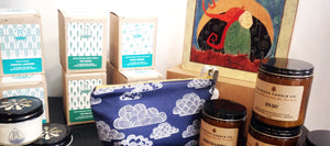 A selection of our gift items from Oregon made candles, bags and art