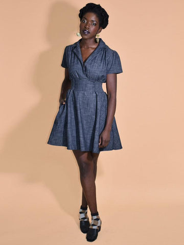 Chambray Denim Shirred Waist Dress with Pockets