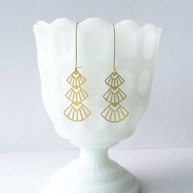 Art Deco Triangle Stacked Earrings