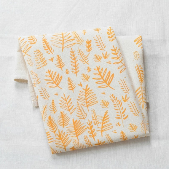 Fern Tea Towel in yellow