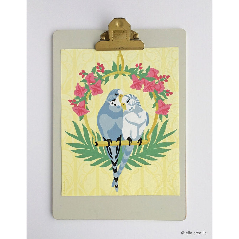 Cuddling Parakeets Paint-by-Number Kit