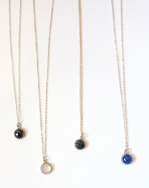 Round Gemstone Necklace- Various Stones