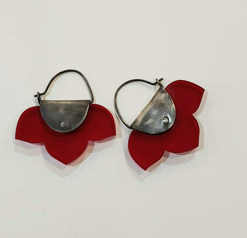 Pinned Acrylic Kikyo Earrings- Red