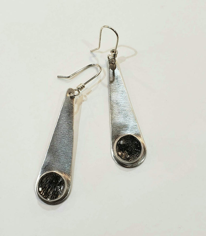 Tourmalinated Quartz on Silver Earrings