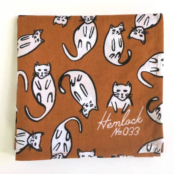 Bandana in Burnt Orange Cats