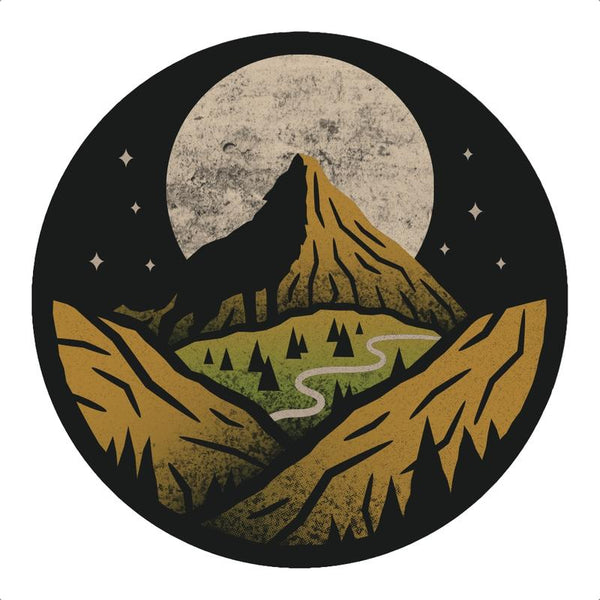 Mountain and Moon Outdoor Sticker