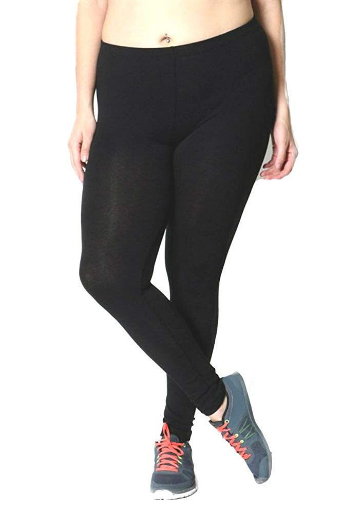 Plus Size Cotton Leggings in Black