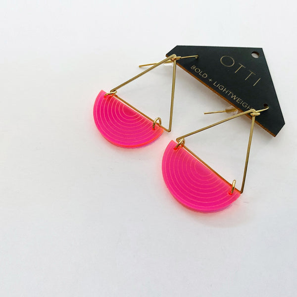 Half Moon Earrings in Fluorescent Pink