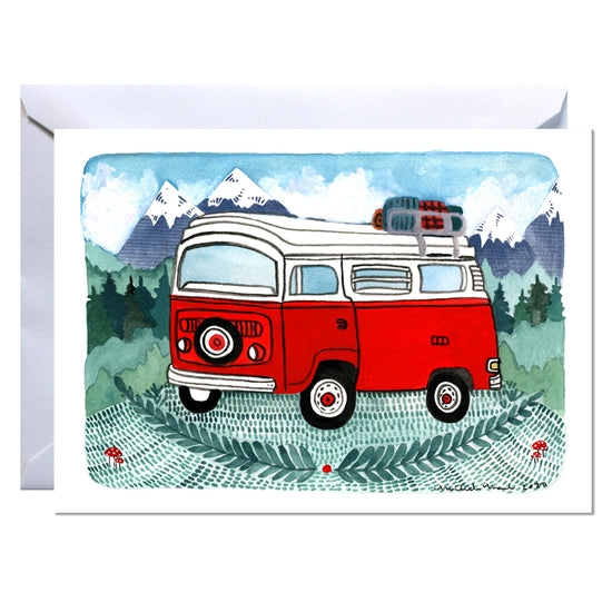 Red Camper Van Greeting Card