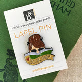 Brunette Book Babe Lapel Pin