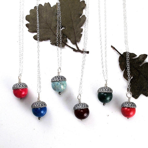 Colorful Stone Acorn Necklaces