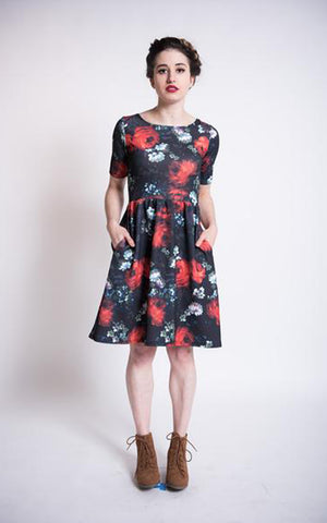 Women's dress in dark floral rose print