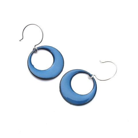 Rubygirl Jewelry Large Enamel Mod Circle Earrings in blue