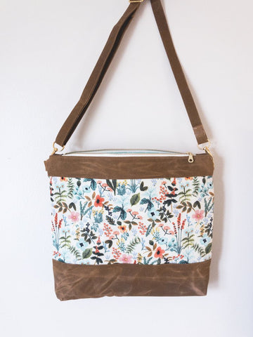 Waxed Canvas Crossbody Bag - Herb Garden