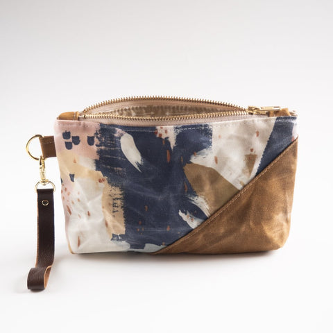 Waxed Canvas Wristlet - Paint Splatter Print