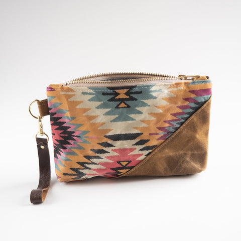Waxed Canvas Wristlet - Sunshine Kilim Print