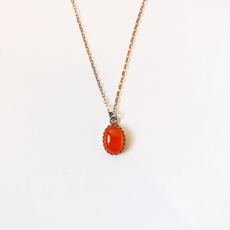 Oval Gemstone Necklace- Various Stones
