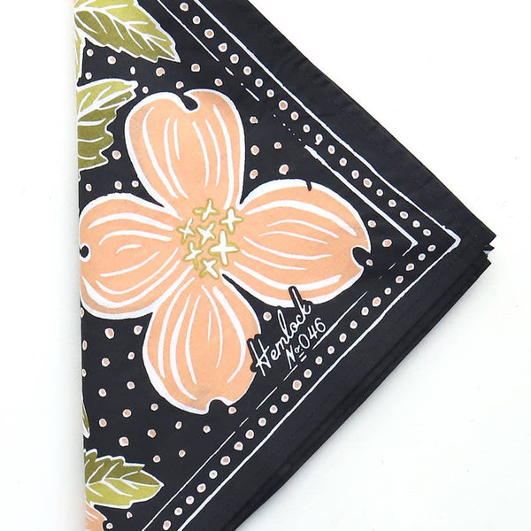 Dogwood Floral Bandana in Blush and Black
