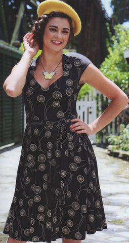 Hedy Dress in Black Wish Print