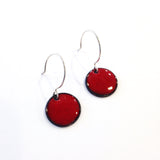 Medium Red enamel dot earrings