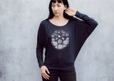 Moth and Flame Long Sleeved Dolman Tee in Navy