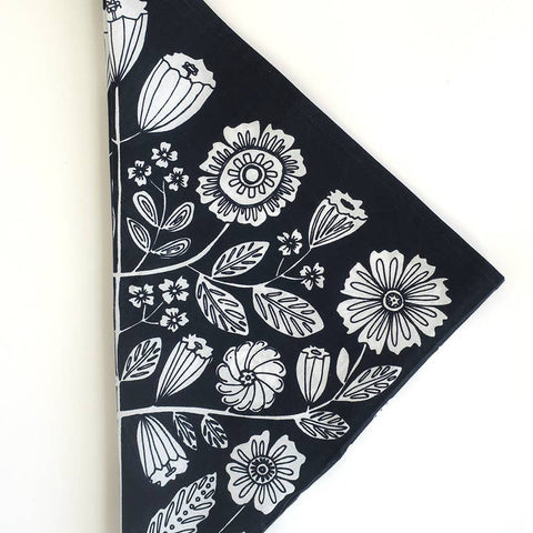 Floral Bandana in Black and White