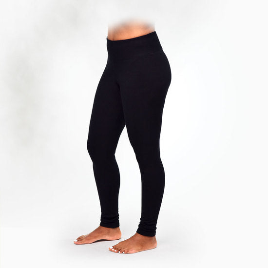 Organic Cotton Fleece Leggings in Black