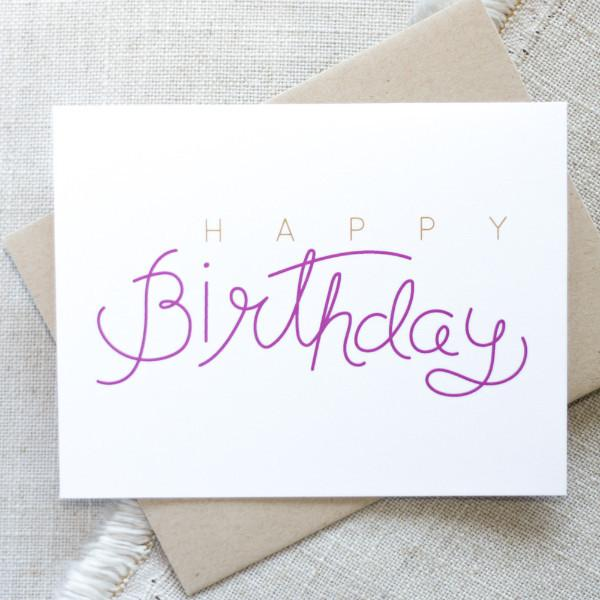 Hand Lettered Happy Birthday Card