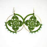 Moss Handmade Jewelry Crochet Mandala Boho earrings