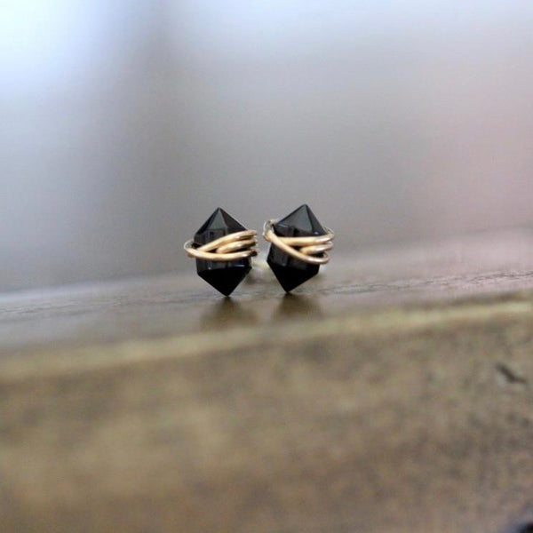Wire wrapped black agate pike stud earrings at Union Rose