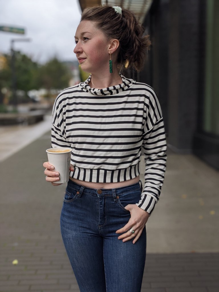 Angelique Sweater Pullover in Black and White Stripes