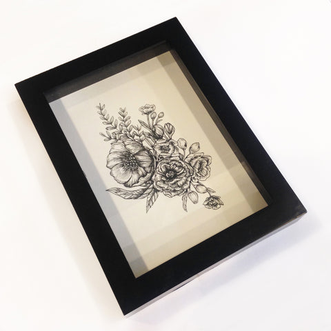 Framed Floral Pen and Ink Print