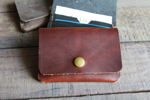 Dark Rhum Leather Snap Card Wallet