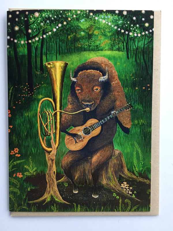 One Bison Band Greeting Card