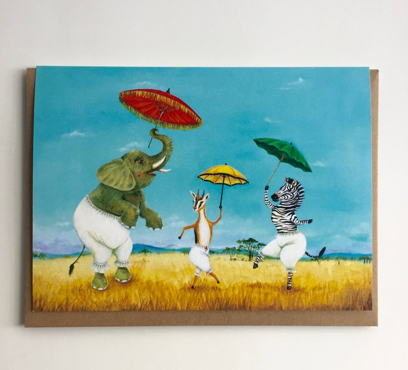 Pantaloons and Parasols Card