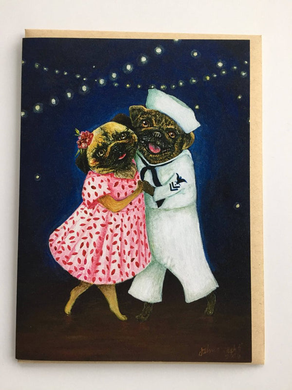 Pug Hop Greeting Card