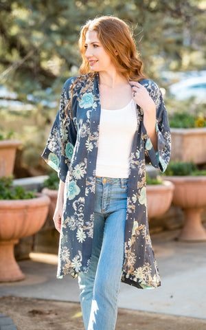 Indie Ella women's kimono duster in recycled silk