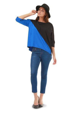Kate Top in Blue and Black