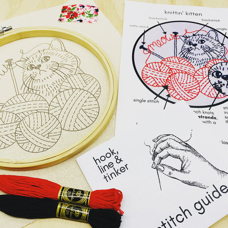 Knittin' Kitten Embroidery Kit