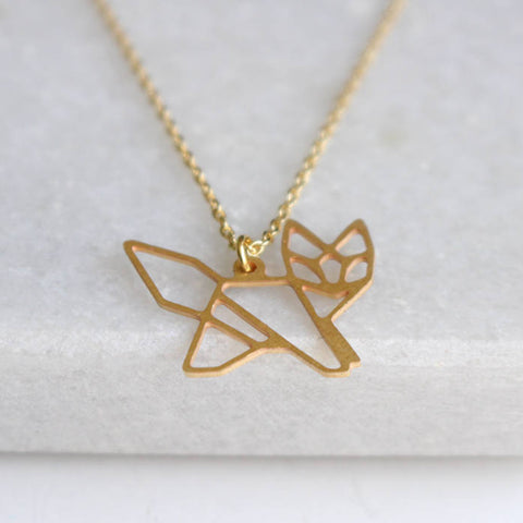 A Tea Leaf geometric fox necklace