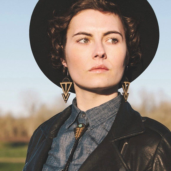 Coven Hoop Earrings on model, laser cut birch wood jewelry