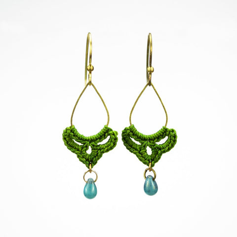 Teardrop Tiny Swag Earrings - Herb Green