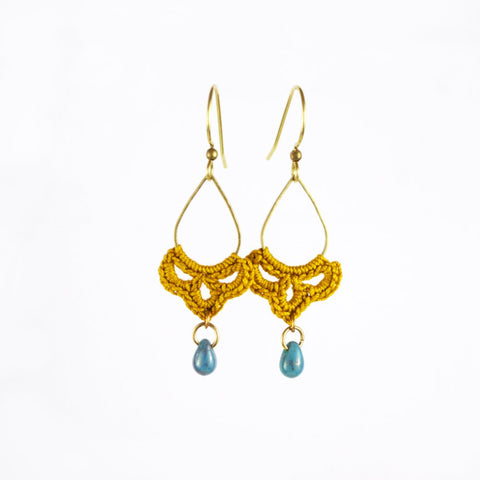 Teardrop Tiny Swag Earrings - Marigold