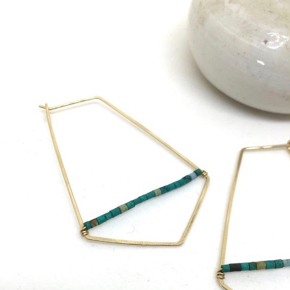 Hammered Wire +Malachite Beaded Hoop Earrings