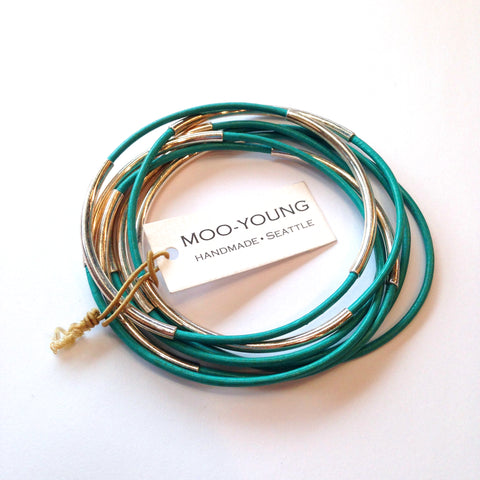 Moo Young leather bangle set in turquoise and silver