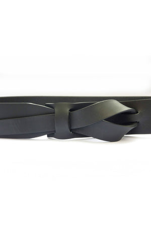 Wide Knotted genuine leather belt made in peru