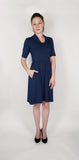 Nianna Cowl Neck Dress - Navy Blue