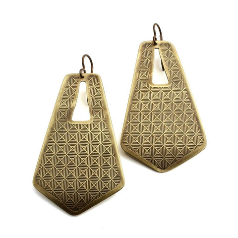 Ten 2 Midnight jewelry large neo-metric trapezoid brass earrings
