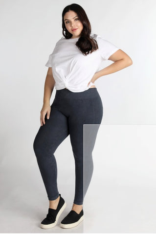 Plus Size Leggings Ladder Stripe