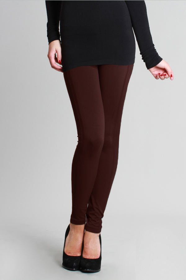 Ribbed Long Leggings with Side Lines - Dk Brown